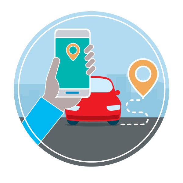 a graphic featuring a hand holding a smartphone showing a rideshare app with a red car waiting in the background