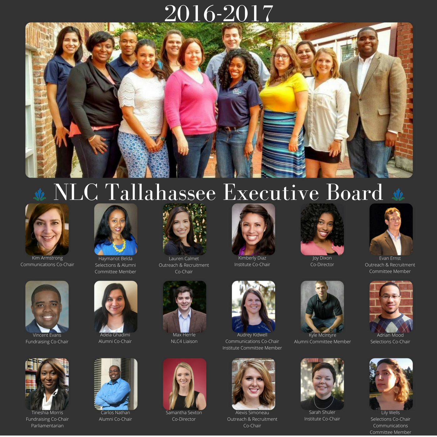 New Leaders Council Tallahassee 2016-2017 Board Positions Chapter Leadership Co-director: Joy Dixon Co-director: Samantha Sexton Communications Co-chair: Kim Armstrong Co-chair: Audrey Kidwell Committee: Lily Wells Institute Co-chair: Sarah Shuler Co-chair: Kimberly Diaz Committee: Audrey Kidwell Fundraising Co-Chairs Co-Chair: Tineshia Morris Co-Chair: Vince Evans Recruitment/Outreach Co-Chair: Lauren Calmet Co-Chair: Alexis Simoneau Committee: Evan Ernst Selections Co-Chair: Adrian Mood Co-Chair: Lily Wells Committee: Haymanot Belda Alumni Co-Chair: Carlos Nathan Co-Chair: Adela Ghadimi Committee: Kyle McIntyre, Haymanot Belda NLC4 Liaison Max Herrle Bylaws/Parliamentarian (non-voting) Tineshia Morris Recording Secretary (non-voting): OPEN
