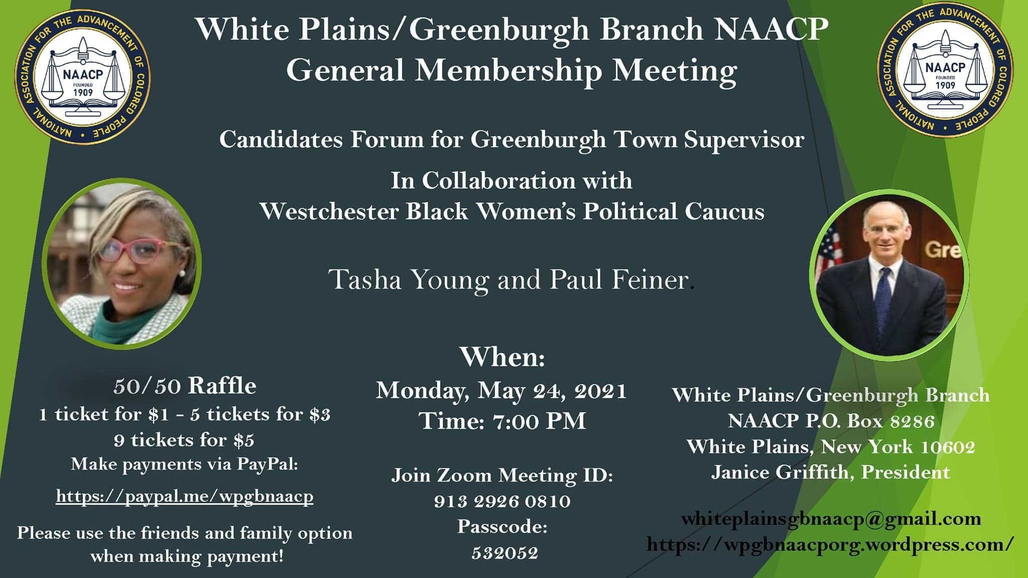 Westchester  NAACP will hold a Greenburgh Town Supervisor 2021 candidates' forum today