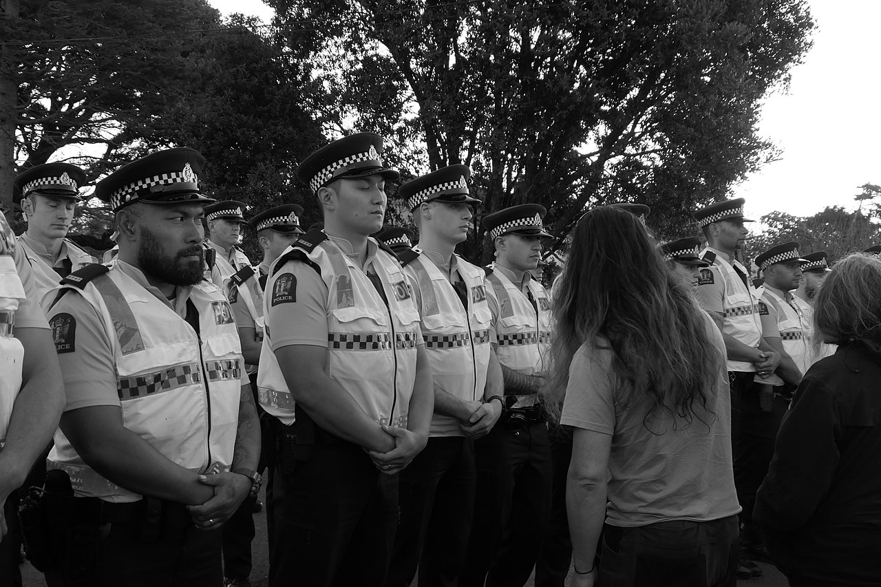 Police at Ihumatao