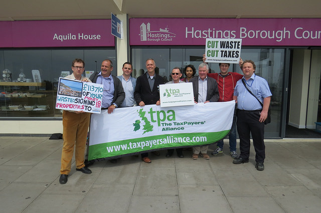 Taxpayers Alliance campaigning outside of Hastings council building