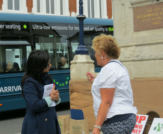 Dia speaking to a Maidstone local resident