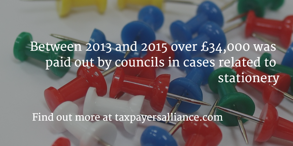 Between 2013 and 2015 over £34000 was paid out by councils in cases related to stationery