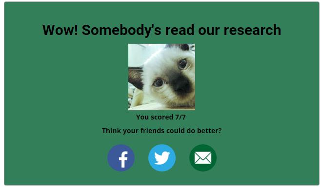 Final result on quiz screenshot