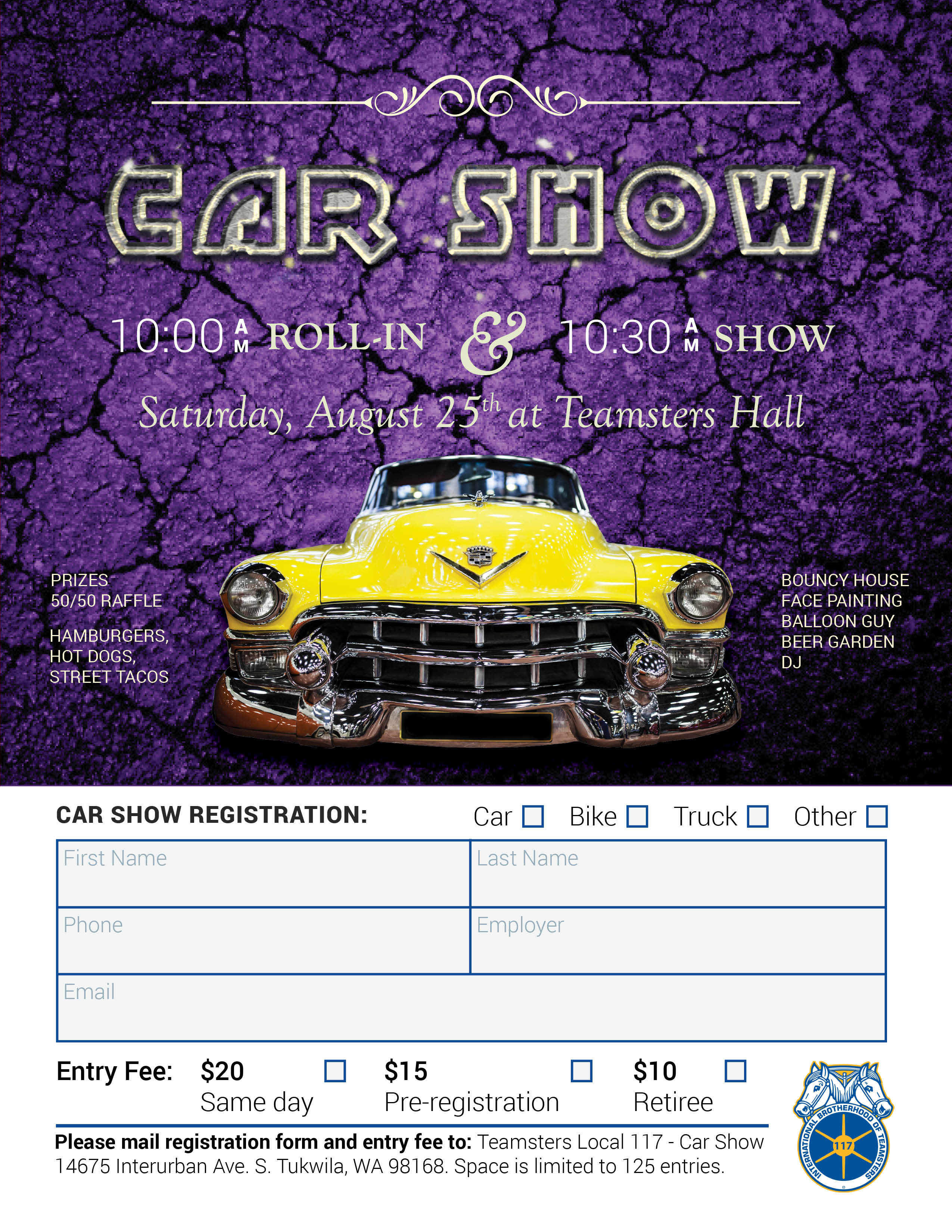 Teamsters car show 2018 teamsters 117 the event will take place at the teamsters union in tukwila 14675 interurban ave s reach out to your union representative for a form to enter your car thecheapjerseys Image collections