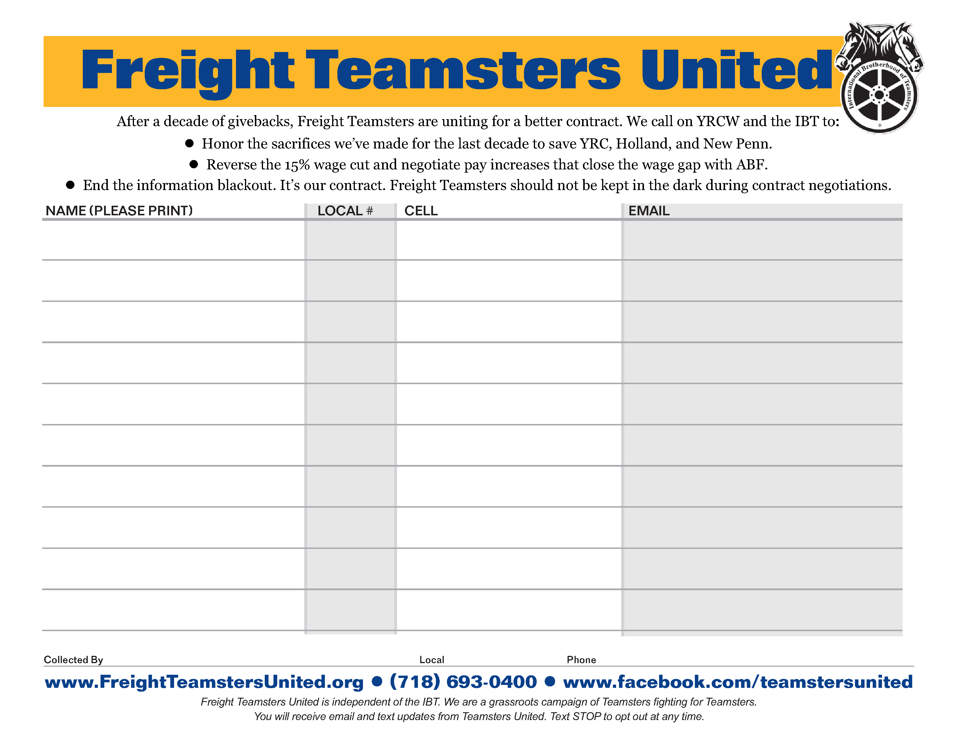 Contract Bulletins - YRC Teamsters United for a Good Contract