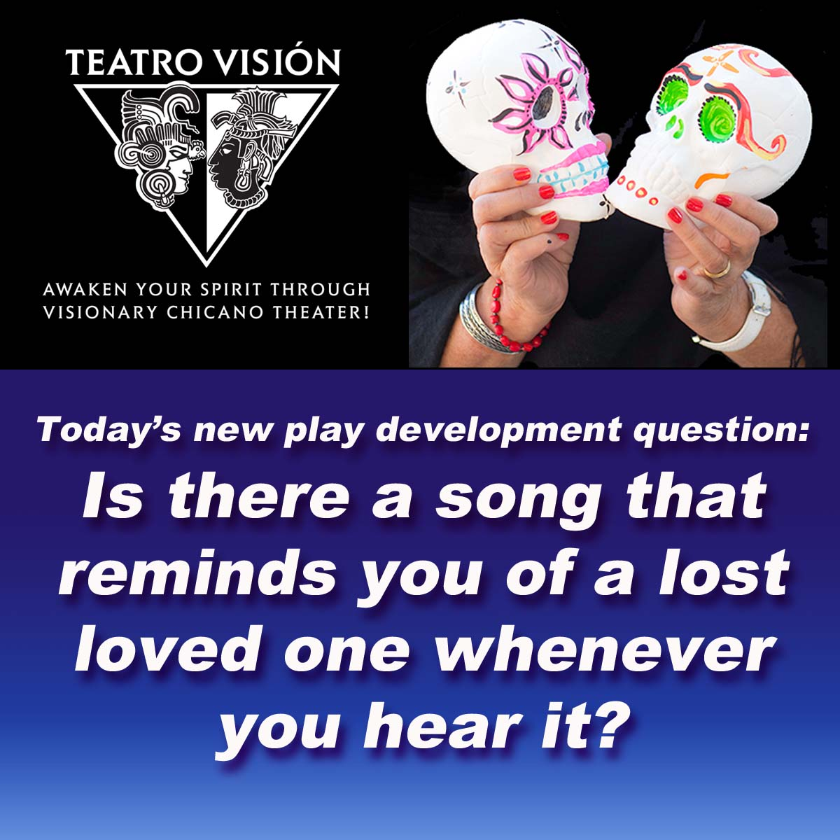 A social media posting of a new play development question asking \