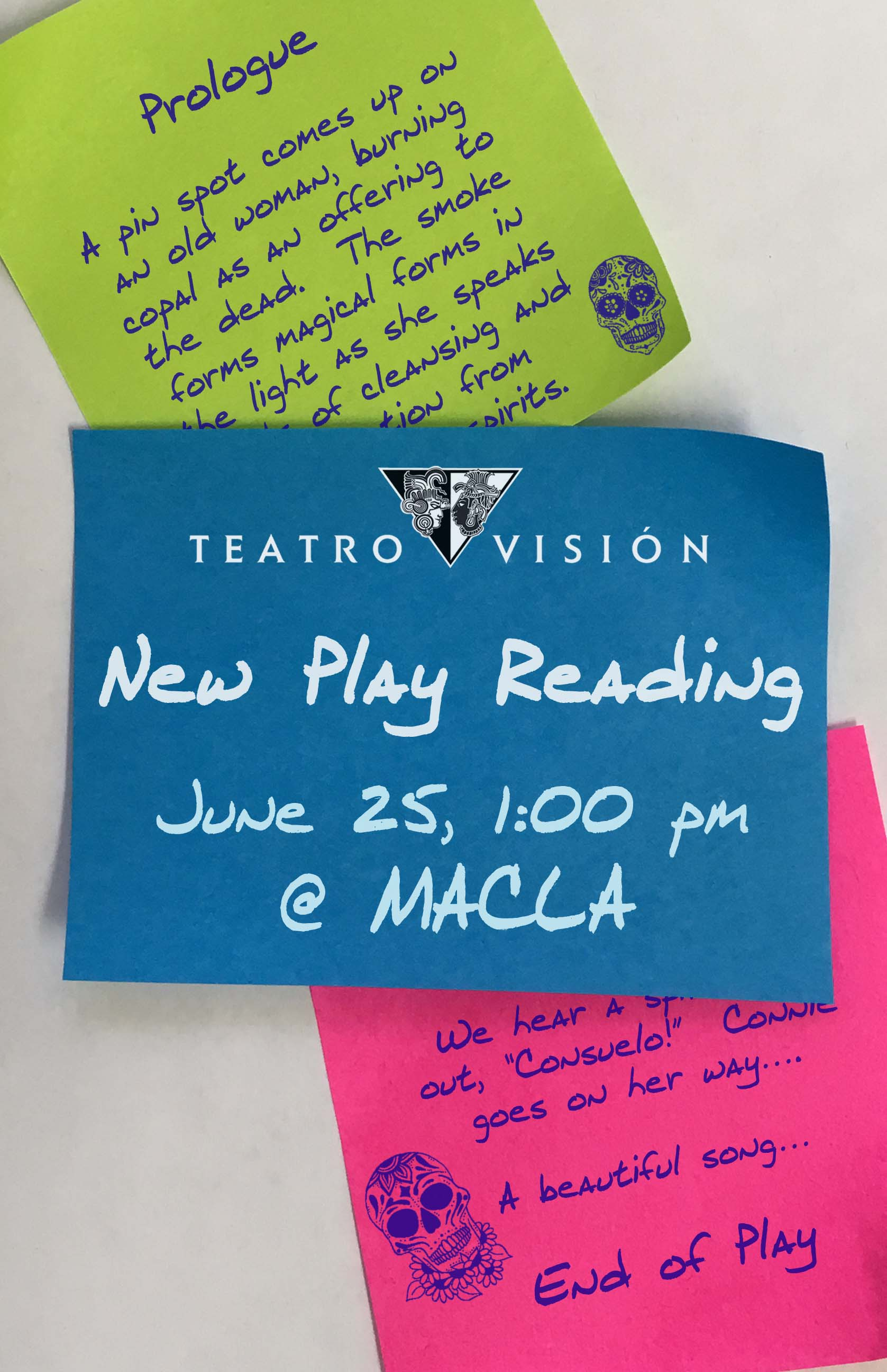 Marketing postcard for a new play reading