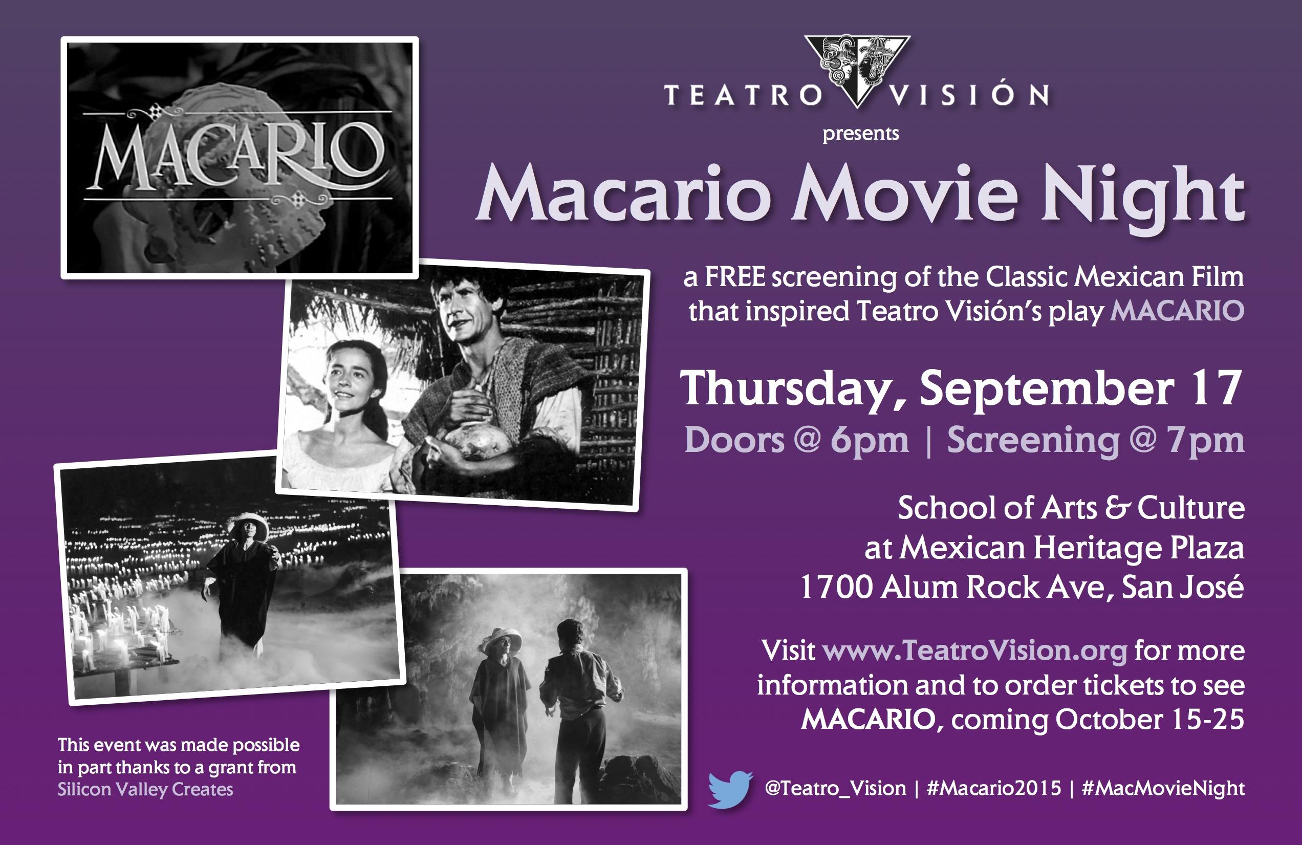 MACARIO 2015 Movie Night flyer
