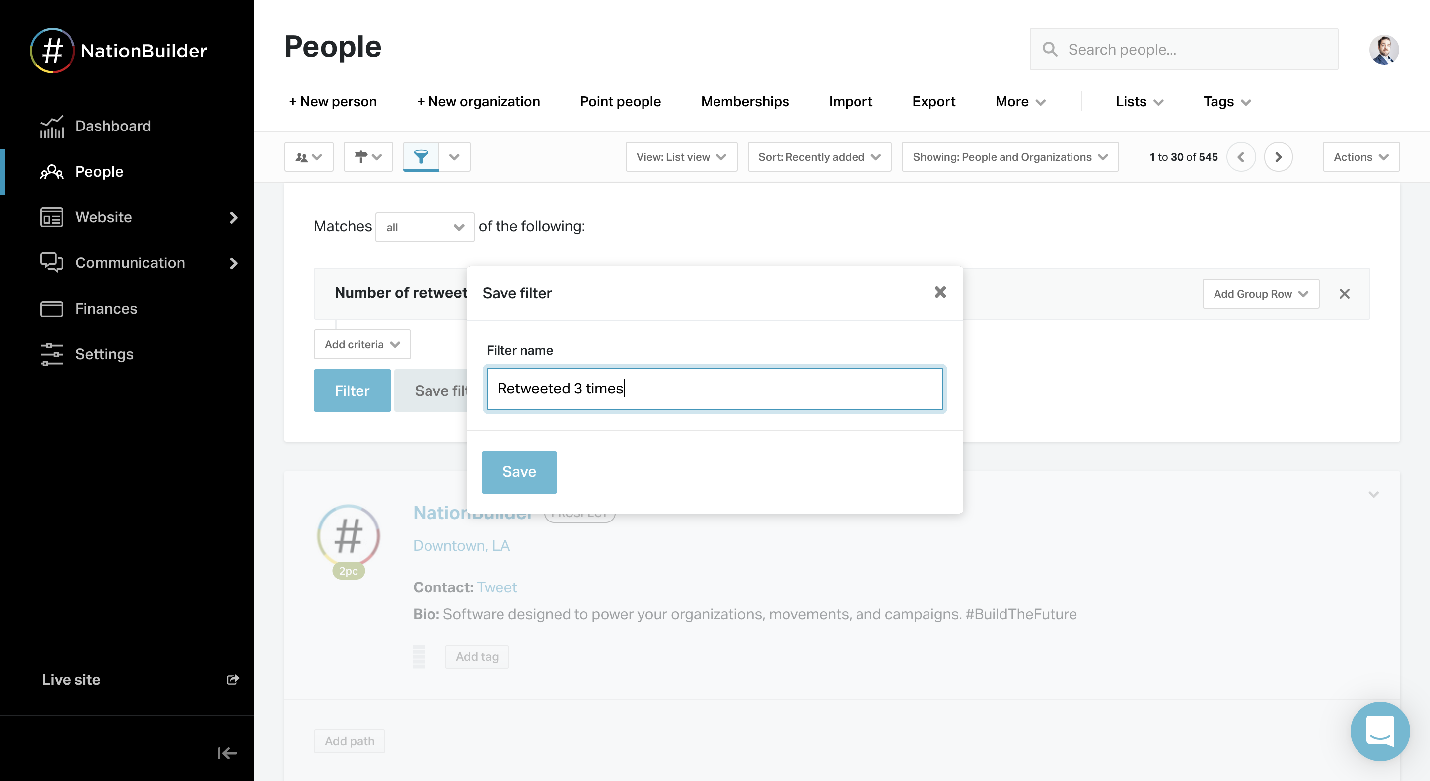 NationBuilder Backend setting up MyActionCenter actions
