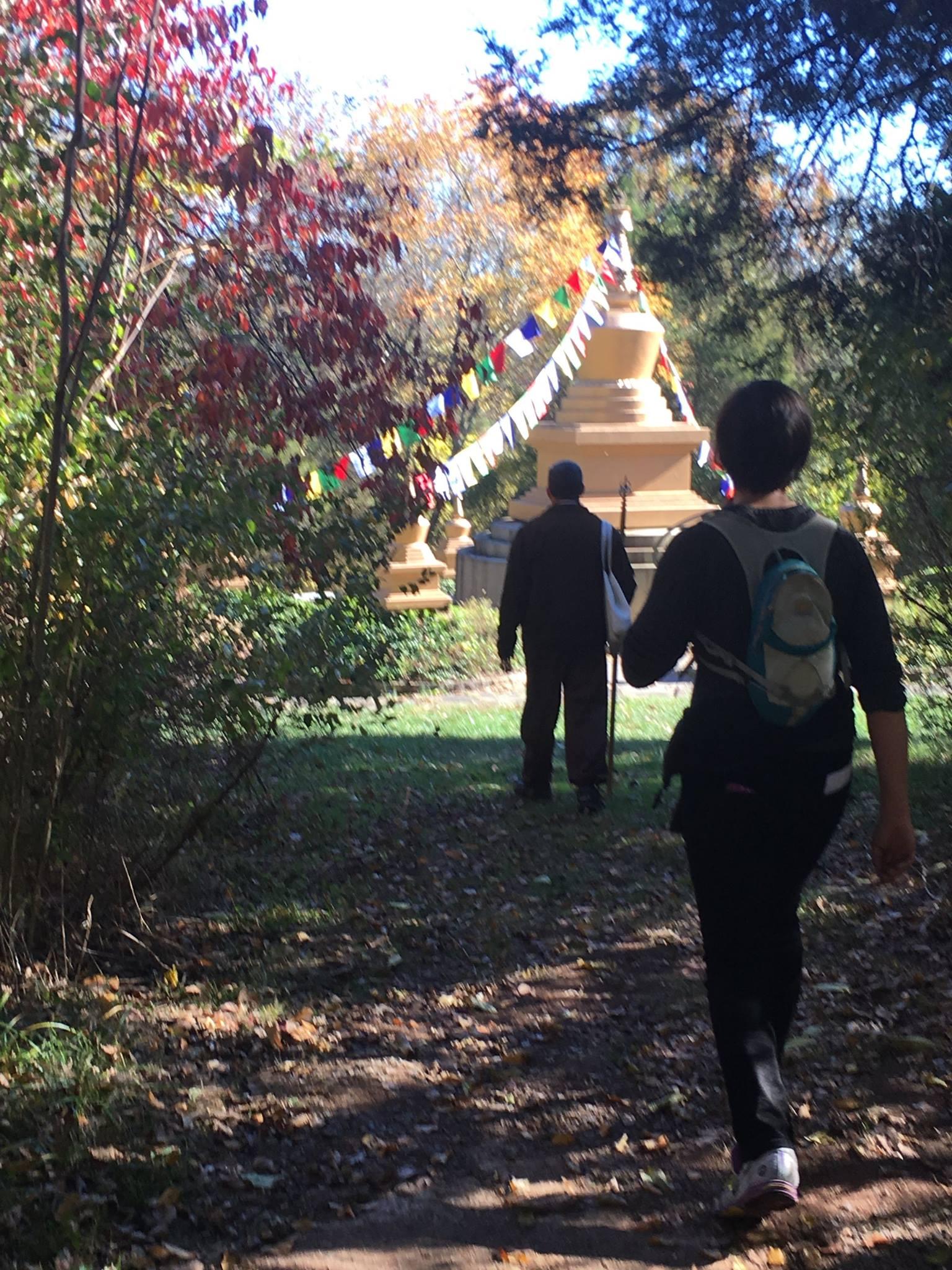 hiking on trail toward stupa