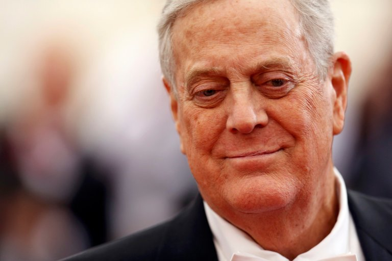 David H. Koch of Koch Industries, which is known for its political support to mostly conservative causes, in New York in 2014. Credit Carlo Allegri/Reuters