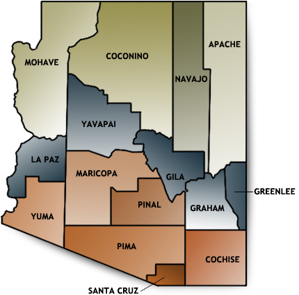 Arizona Permanent Early Voting List Signup Form By County - Arizona state map with counties