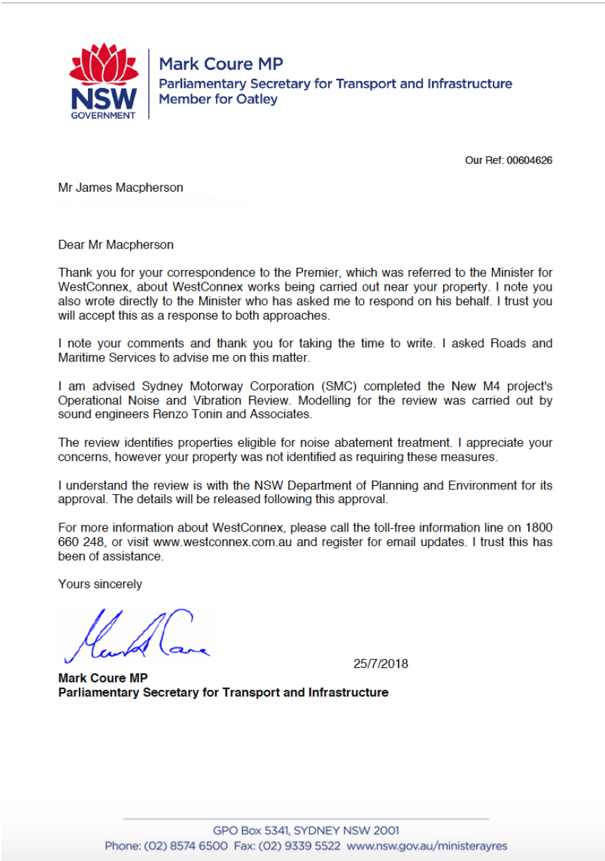 Letter to Mr Macpherson