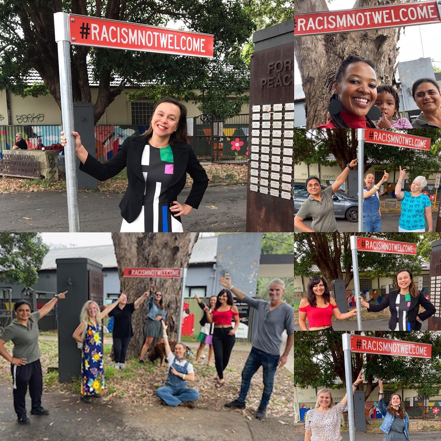 Composite image of different people with the first Racism Not Welcome sign at Addison Road Community Centre in Marrickville