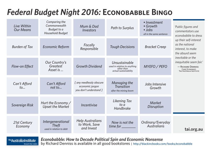 Econobabble bingo sheet