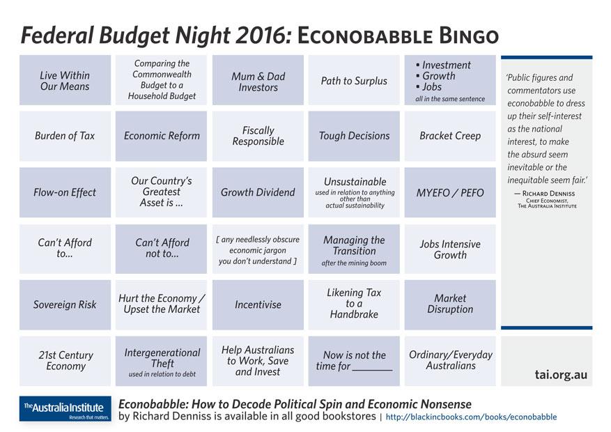 Econobabble bingo sheet
