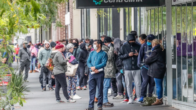 Above: Australians line up at Centrelink