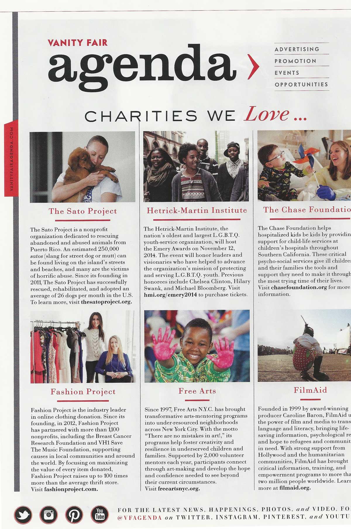 Vanity Fair Charities We Love