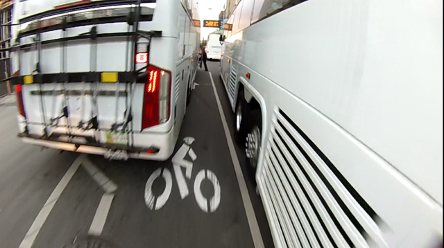 Tech bus loading in the bike lane