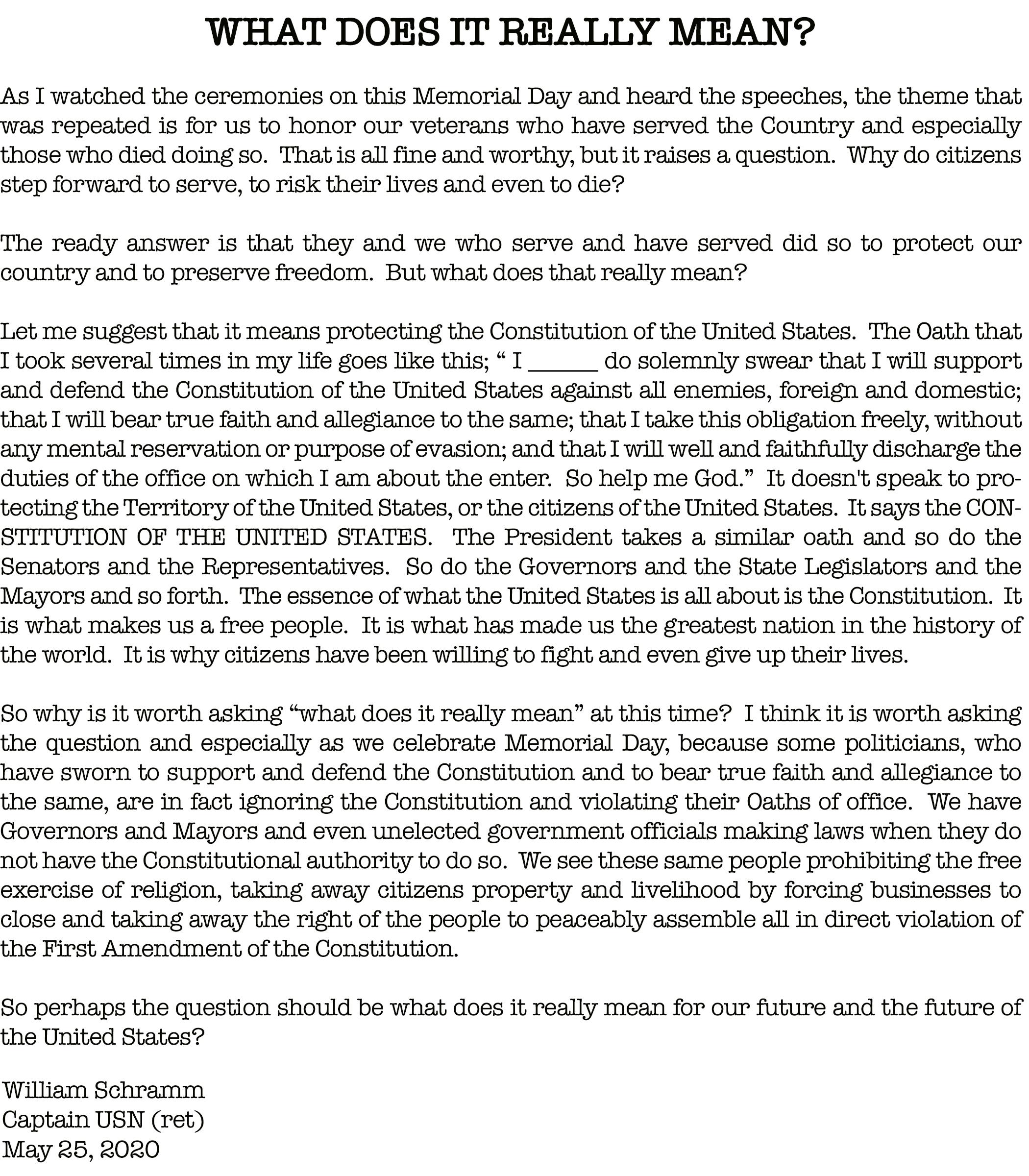 Bill Schramm Memorial Day Letter