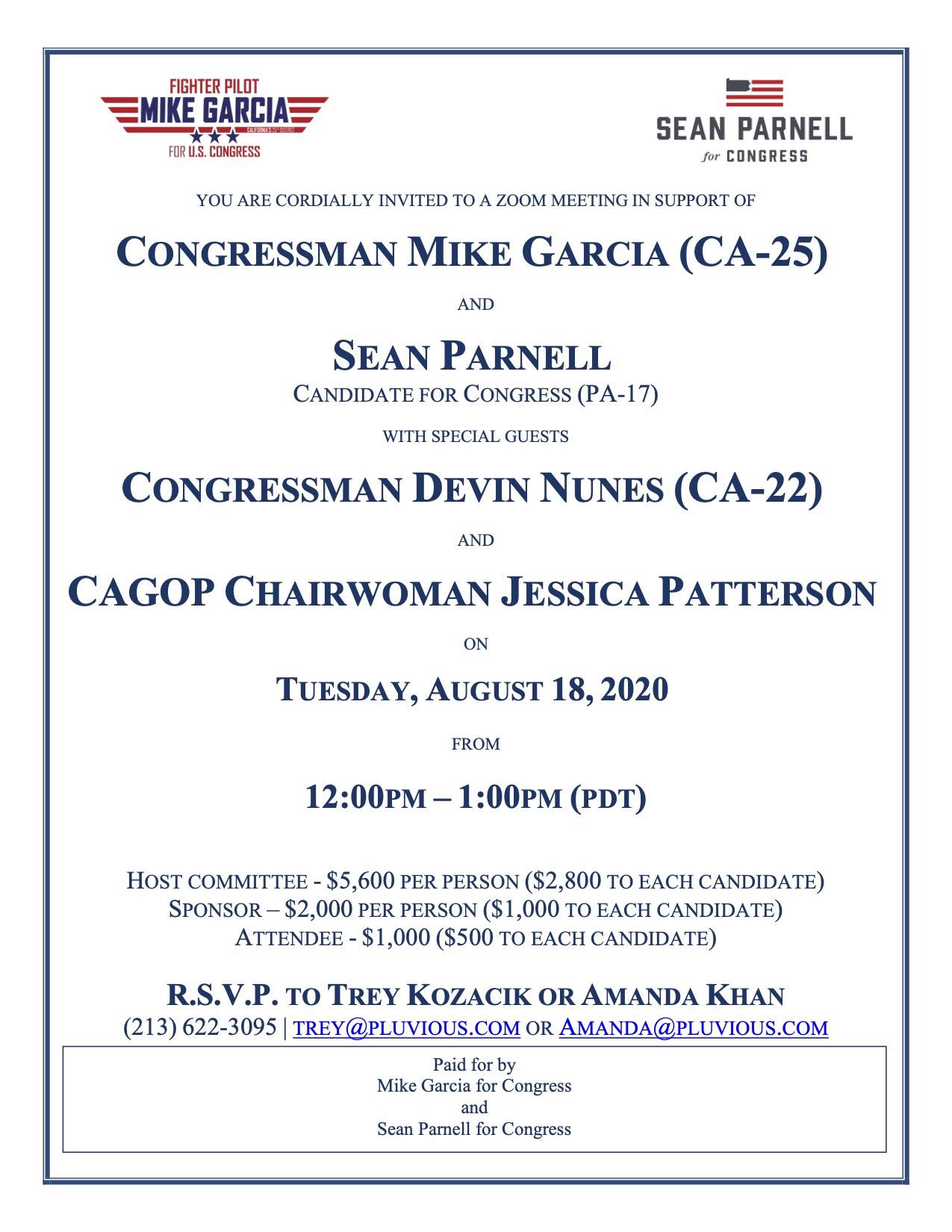Garcia Fundraiser Invite