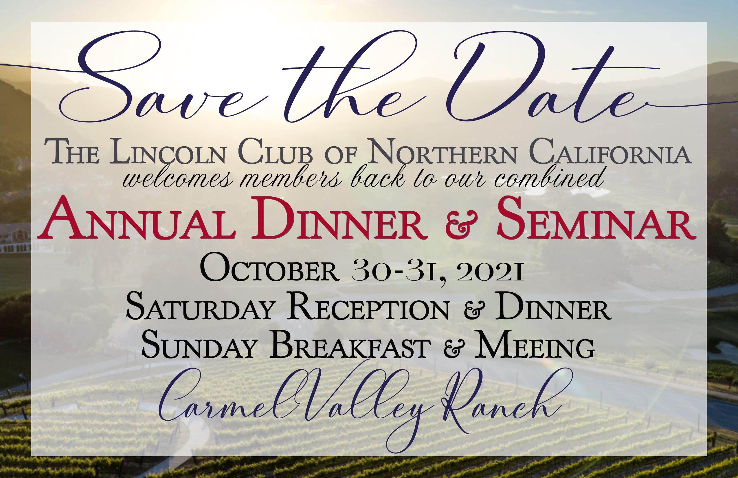 Annual Dinner & Seminar Save the Date