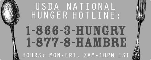 USDA National Hunger Hotline 1-866-348-6479