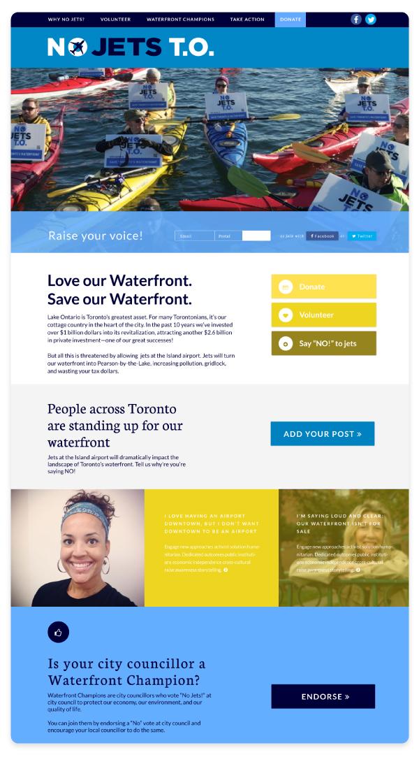 NoJets desktop homepage