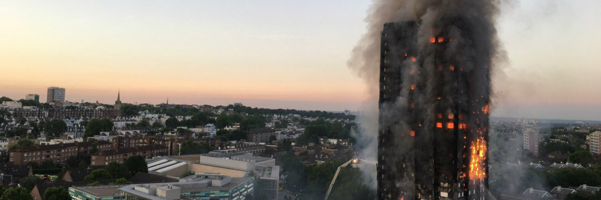 Grenfell Tower in flames.