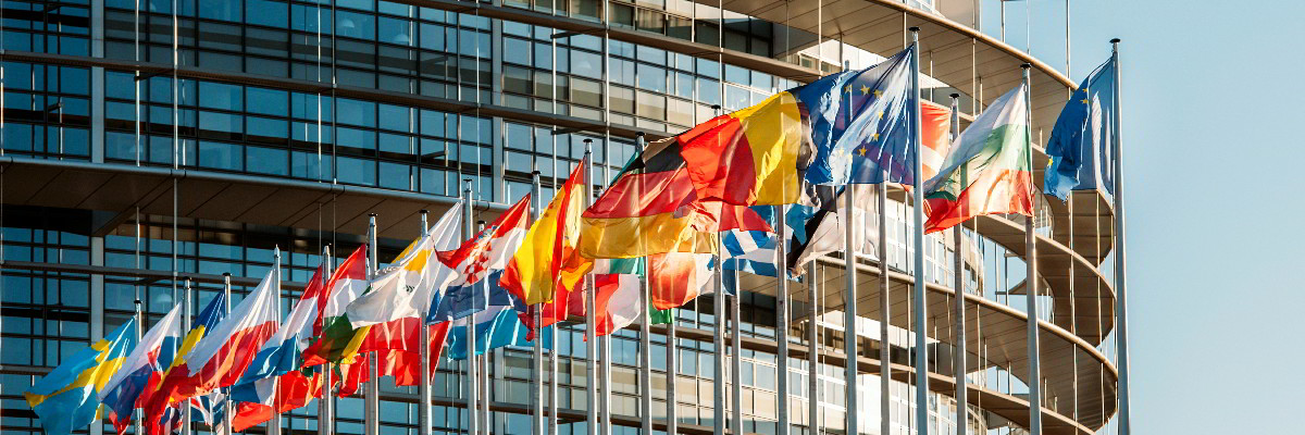 The flags of EU countries flying.