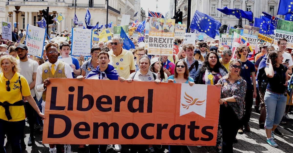 Liberal Democrats at 2018 Anti-Brexit March | Links to: Example blog post