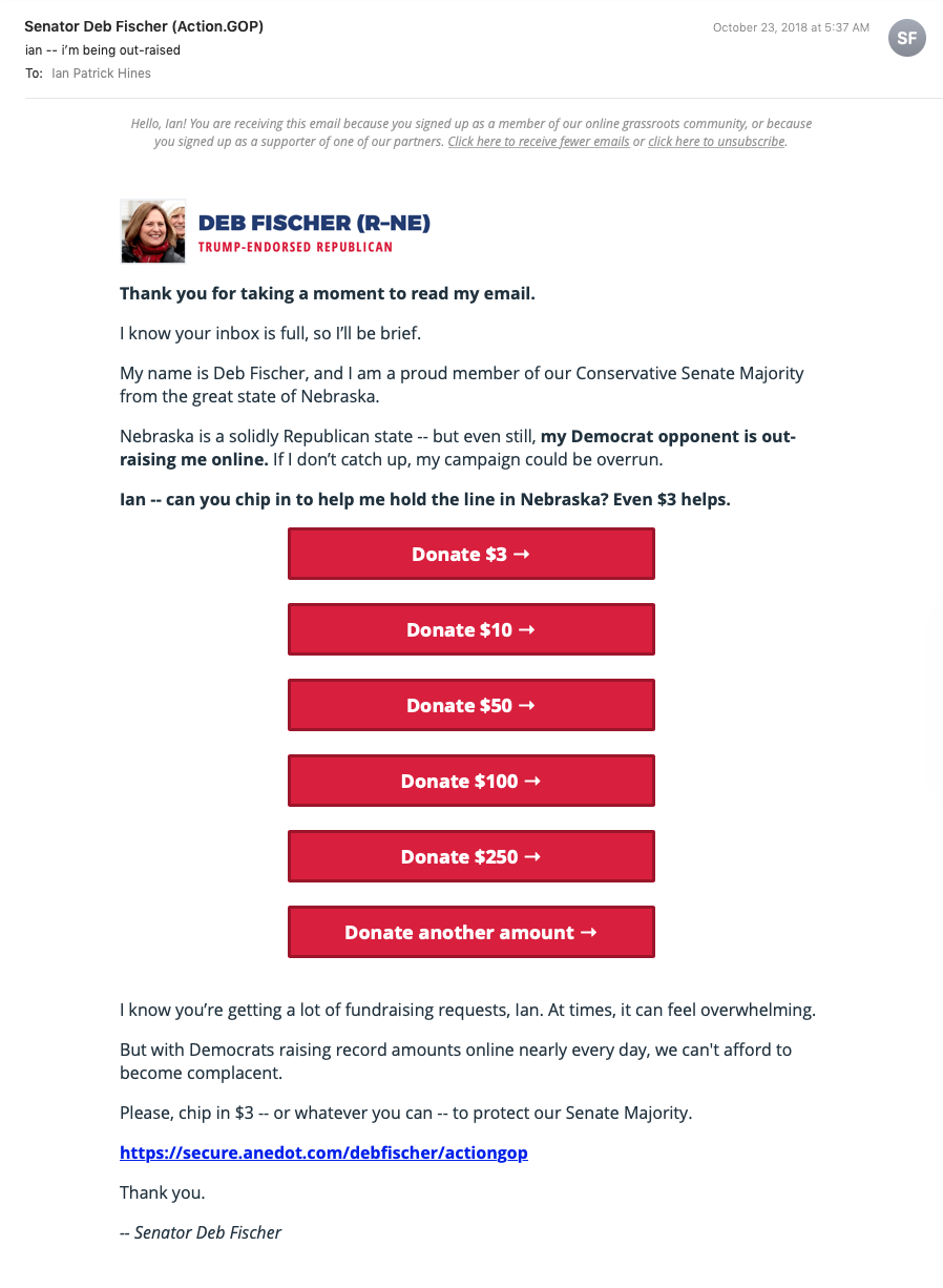 Screenshot: Fundraising Email