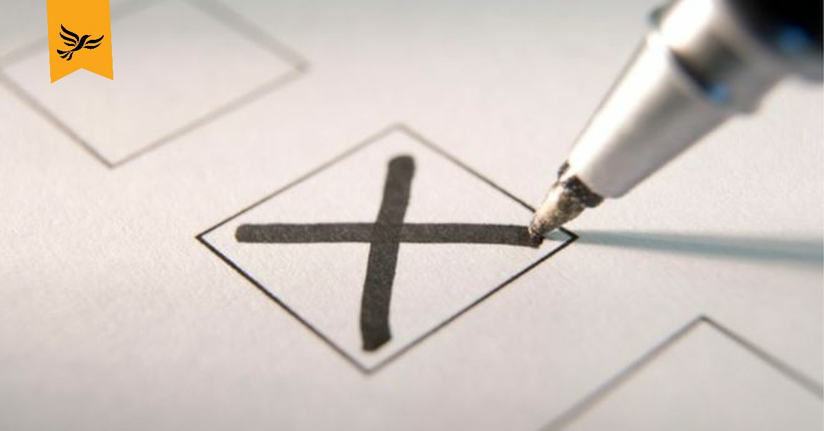 A pen marking an X in a box. Links to: Why people are voting Lib Dem today
