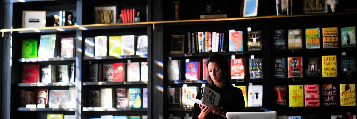 Bookshelf in a bookshop.