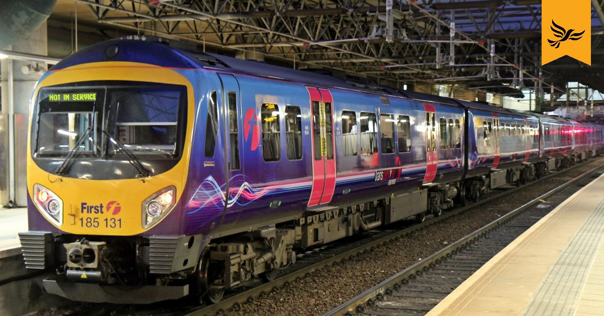 First TransPennine train stopped at a station. Links to: New railway lines in danger of going nowhere
