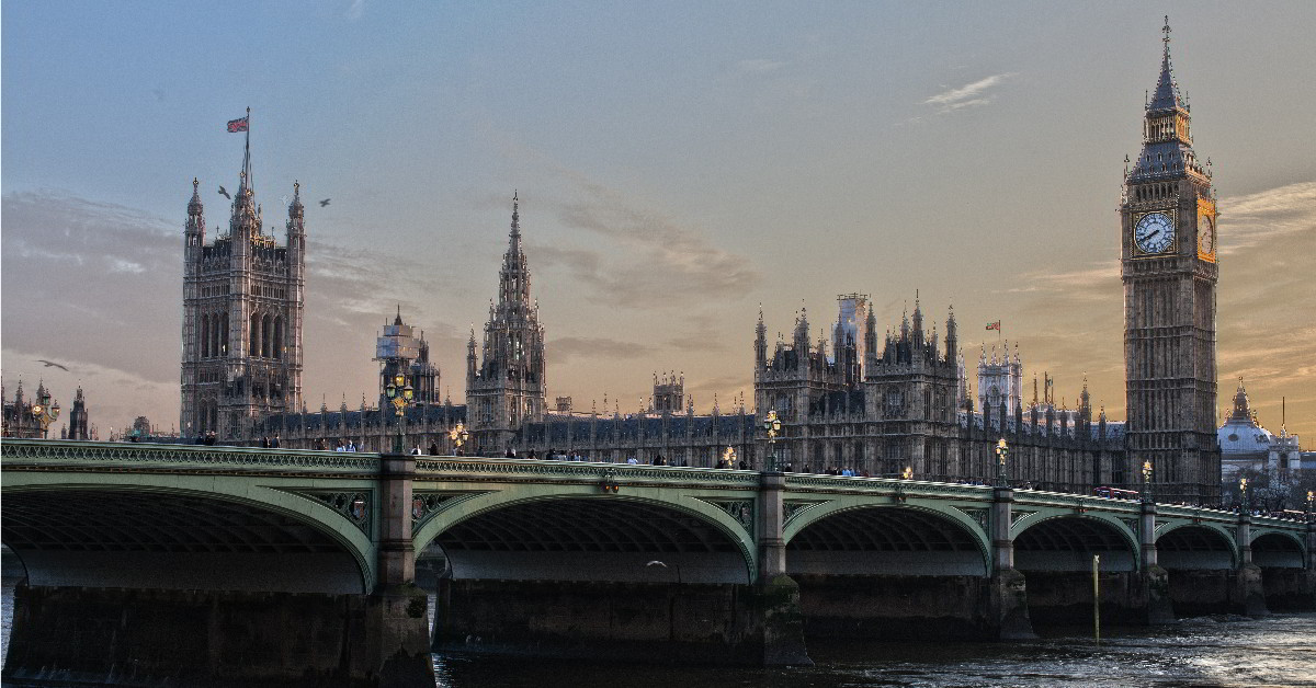 Palace of Westminster and Westminster Bridge. Links to: Britain is stronger with the back-stop of EU law