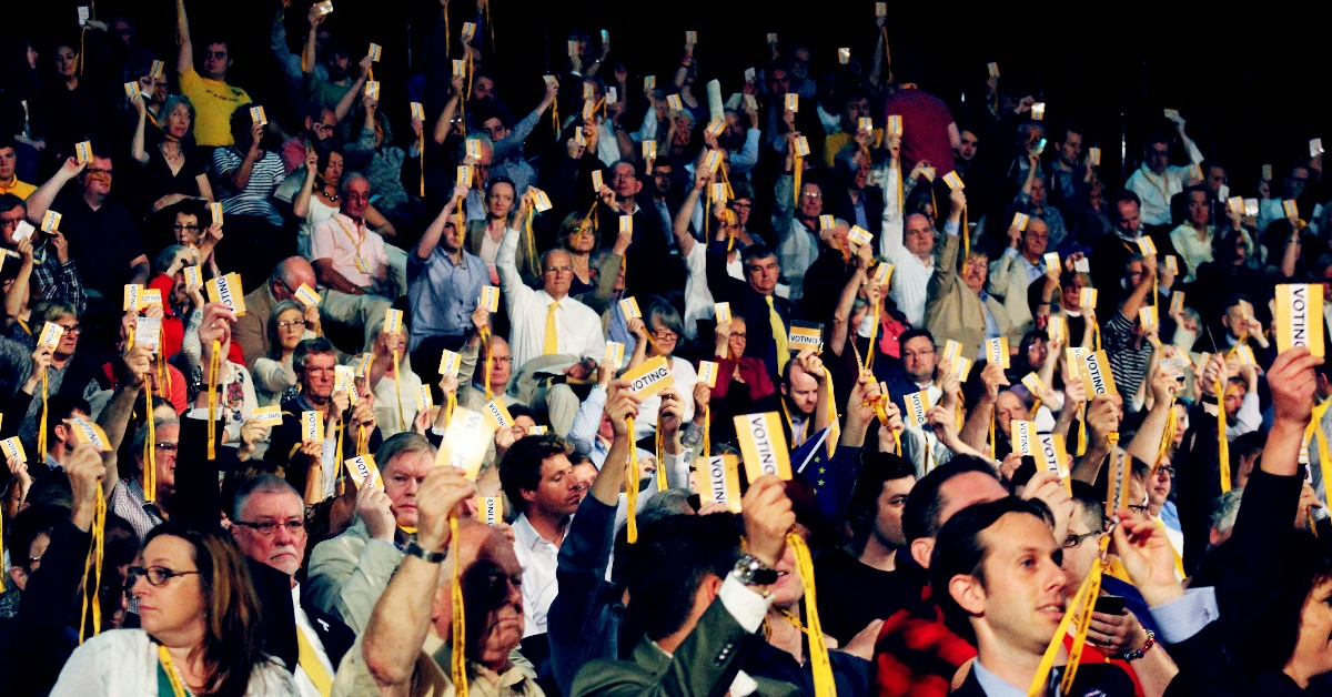 Lib Dem conference delegates voting. Links to: Here's what you missed at Conference ➜