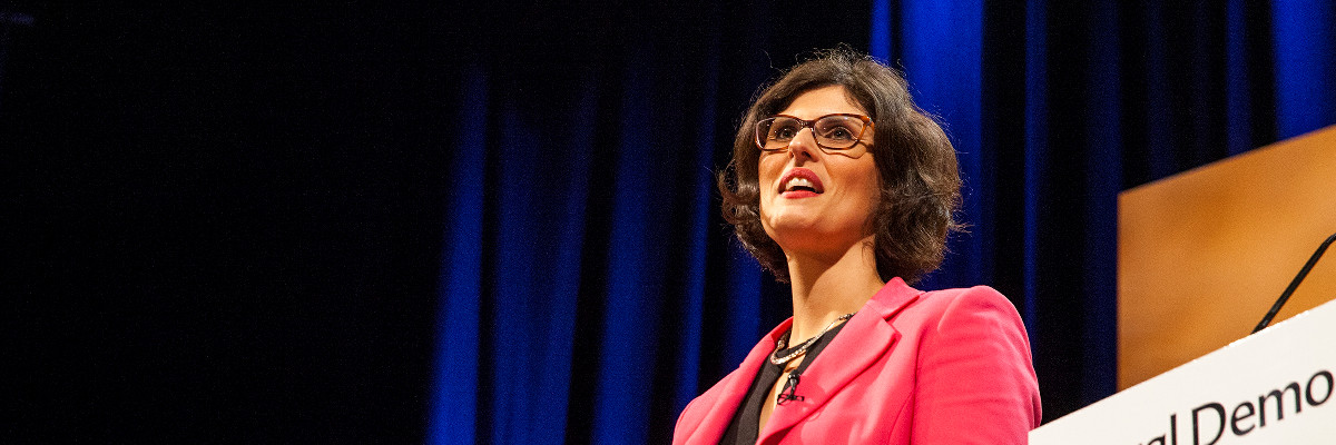 Layla Moran speaking at Lib Dem conference.