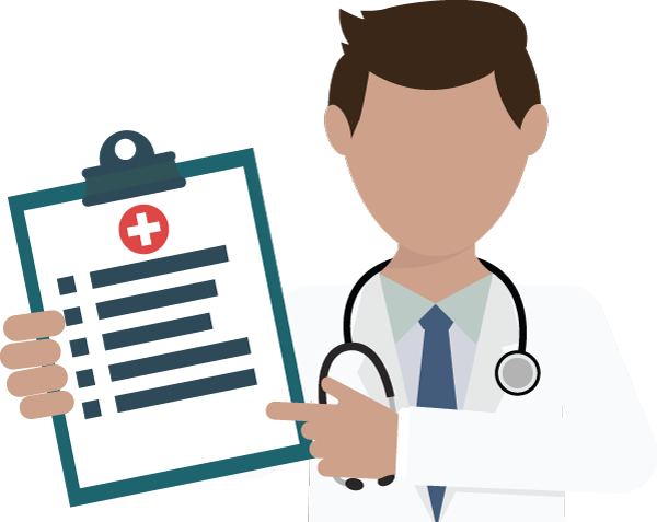 ilustraion of a medical doctor holding a checklist
