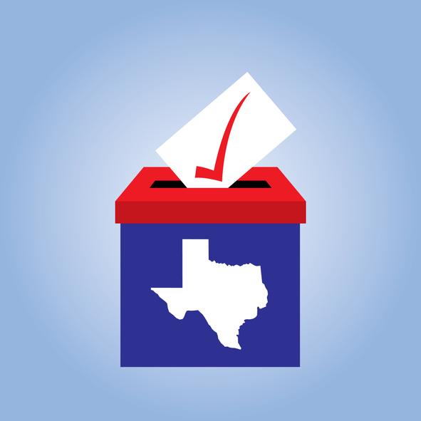 Abstract ballot and Texas flag
