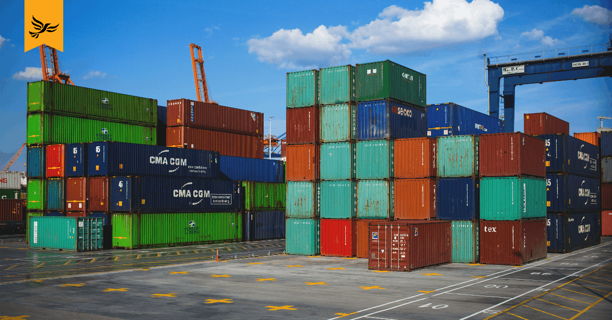 Shipping containers at a port.