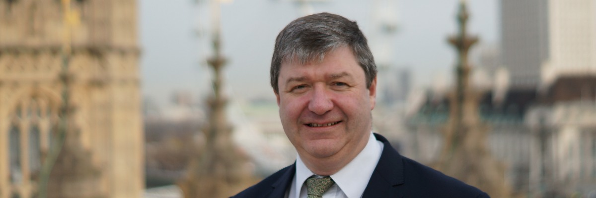 Alistair Carmichael outside the Palace of Westminster.