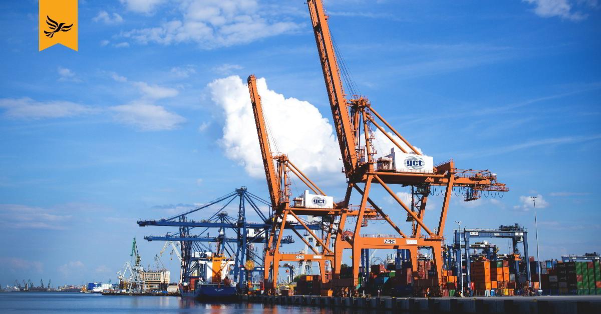 Cranes at a port.