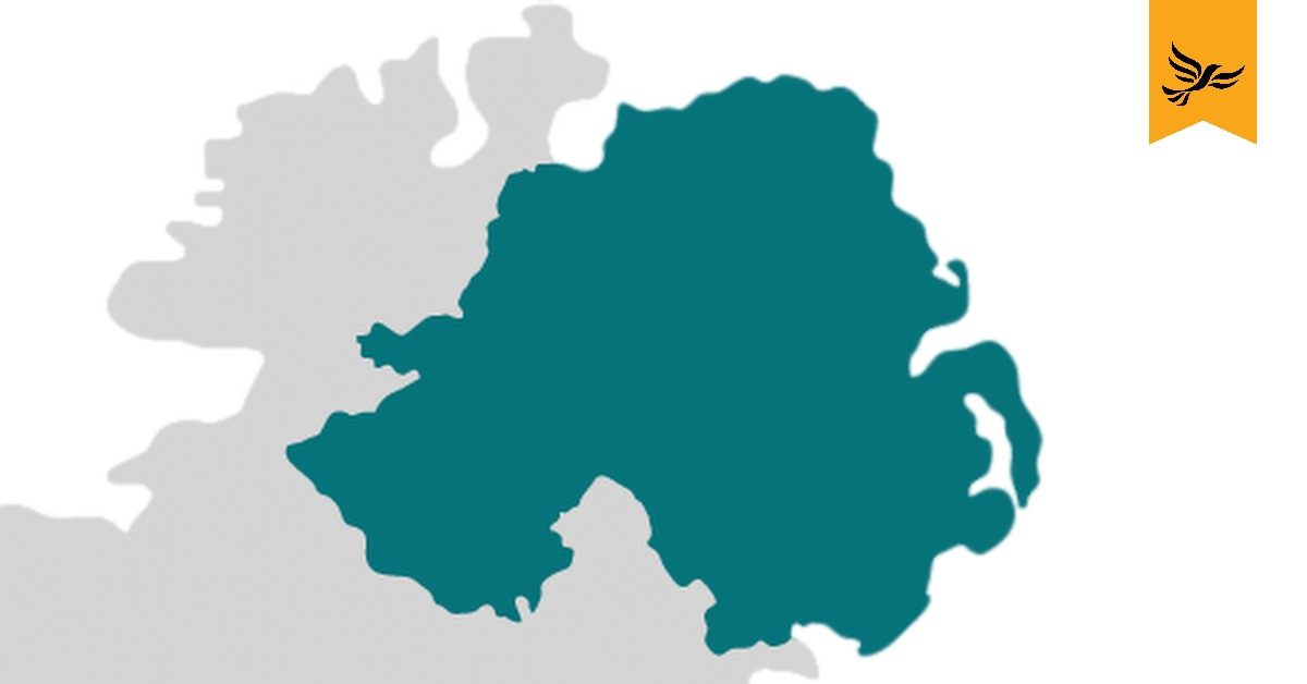 Outline of Northern Ireland on a map.