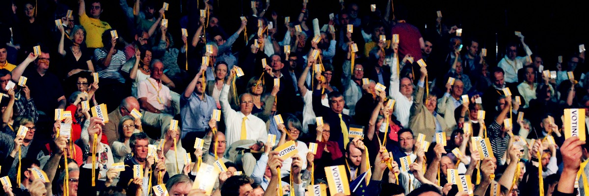 Lib Dem conference delegates voting.