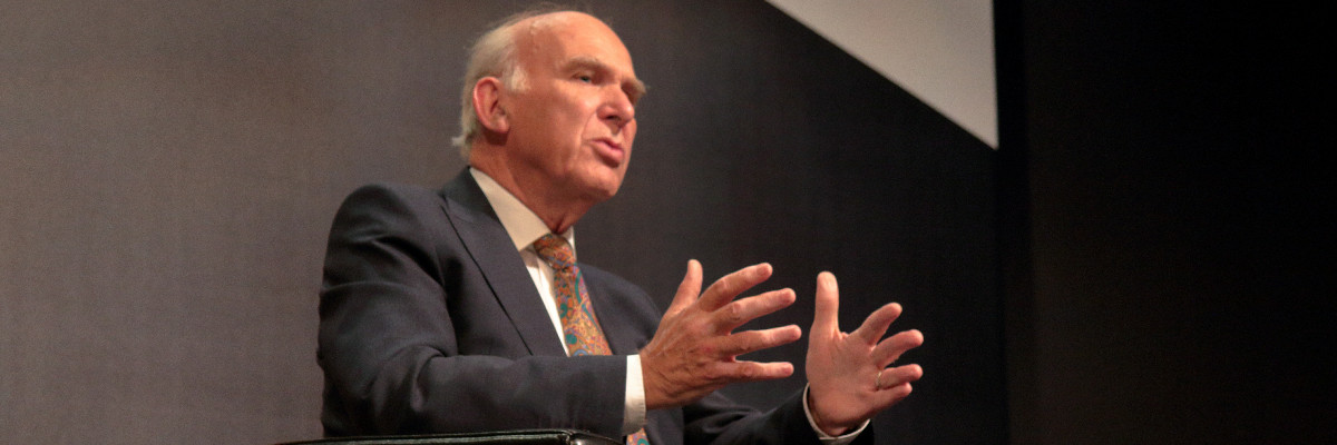 Vince Cable speaks at Lib Dem conference.