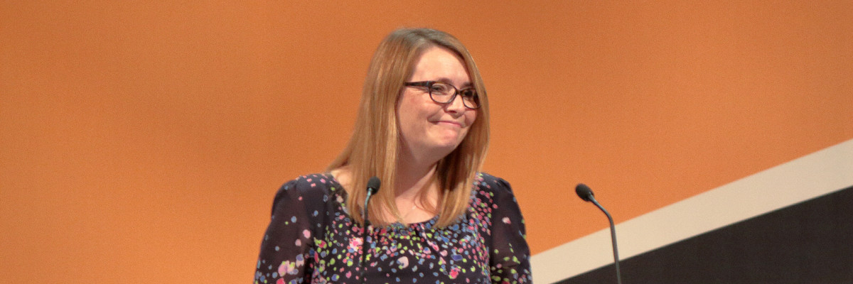 Welsh Lib Dem Education Minister, Kirsty Williams MS speaks at conference.