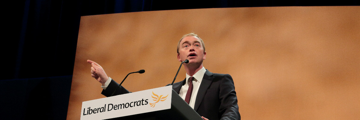 Tim Farron speaks at Lib Dem conference.