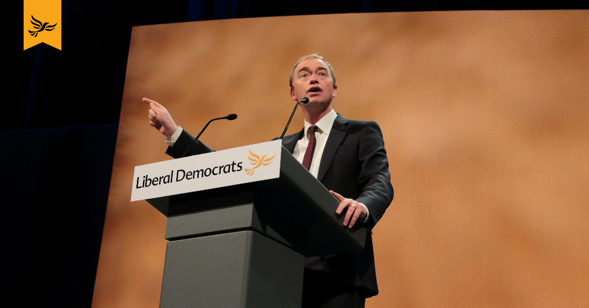 Tim Farron speaks at Lib Dem conference.
